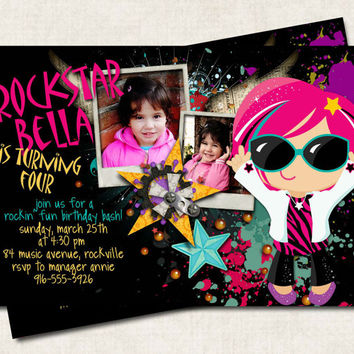 Rockstar Birthday Invitation, rock and roll, black, pink purple teal, stars (Digital File) you-print