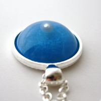Natural Pearl - Turquoise Shimmering Silver Pendant - Matching Chain Necklace