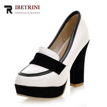 RIBETRINI Brand New Big Size 34-43 Women Pumps Sexy Chunky High Heels Spring Autumn Shoes Woman Black White Platform Party Pumps