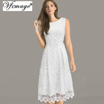 Vfemage Womens Elegant Vintage Embroidered Casual Party Bridesmaid Mother of Bride A-Line Skater Evening Embroidery Dress 3148