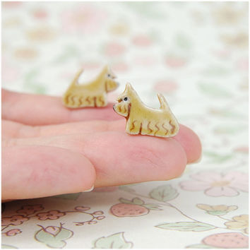 Scottish scottie terrier- tiny dog,aberdeen,ceramic studs ,post earrings, miniature