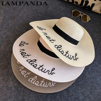 IAMPANDA brand 2017 letter embroidery cap Big brim Ladies summer straw hat youth hats for women Shade sunhat Beach caps Leisure
