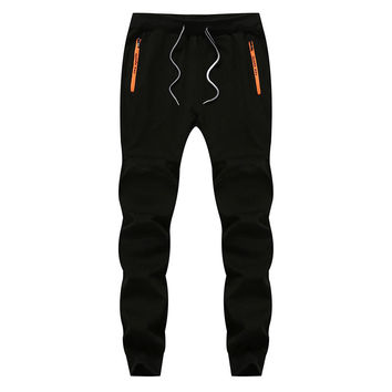 Mens Winter Autumn Running Jogger Pants Elastic Waist Drawstring Splicing Solid Color Casual Sportwear