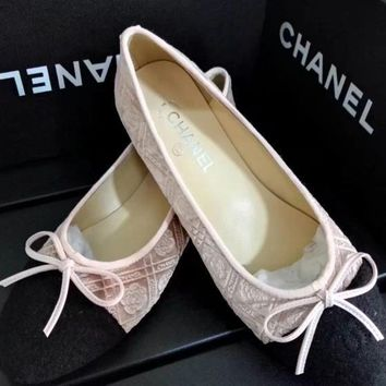 CHANEL Bow Women Fashion Loafer Flats Shoes7