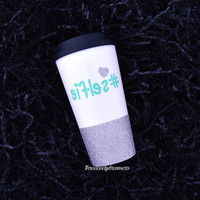 Personalized Coffee Cup - Glitter Dipped Coffee Mug -Personalized Coffee Mug - But first, let me take a selfie. #selfie Glitter Dipped Mug