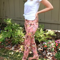 Floral Pink Colored Skinny Jeans
