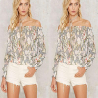 Autumn Women's Fashion Floral Print Long Sleeve Chiffon Tops [8098141191]