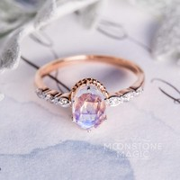 Solid 14kt Rosé Gold Moonstone Ring with Diamonds - Mirth