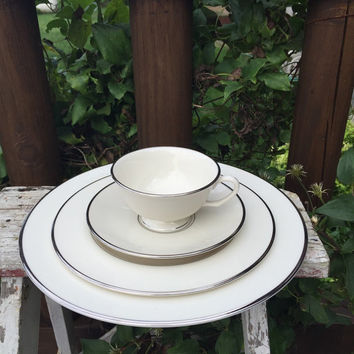 Vintage Pickard china #1204 Horizon, 4 pc place setting, vintage white china w/ platinum rims, plate, cup / saucer, 1970s replacement dishes