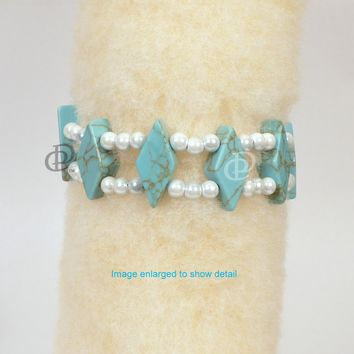 Magnetic Bracelet 3x Power White Hematite with Turquoise and Dual Cord Clasp