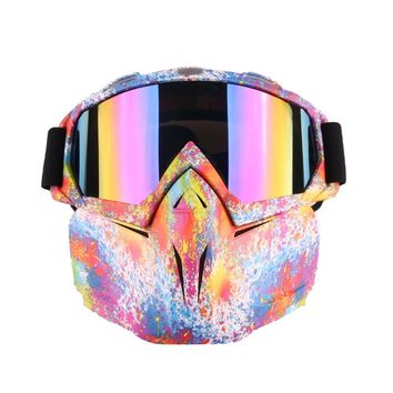 Ski bike motorcycle mask goggles motorcycle off-road motorcycle motor open face detachable goggles helmet retro glasses off-road