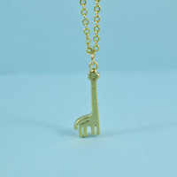 Lovely Giraffe Necklace, Gold Plated Brass Pendant, Delicate Chain, Everyday Wear, Perfect Gift