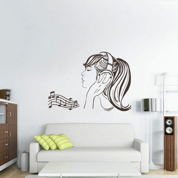 Wall Decal Vinyl Sticker Bedroom Headphones Music Notes Beats Audio Art Cord Relax Girl (z2661)