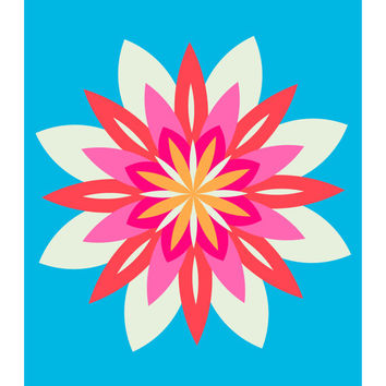 Flower Power No. 3, Floral, Abstract, Neon Pink, Orange, Red, and Blue, 11x14