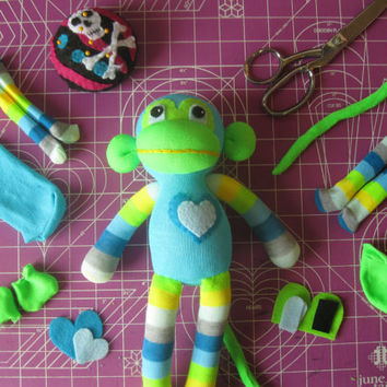 Sock Monkey Plush D.I.Y. Kit No. 850 - No Sewing Machine Needed