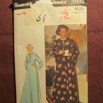 SALE Uncut 1970's Butterick Sewing Pattern, 3935! Size 18 Large/XL/Women's/Misses/Hippie Casual Caftan/Kaftan/Flared/Loose Fitting/Long Slee