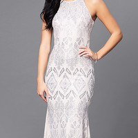 Long High-Neck Cream Prom Dress with Glitter Print