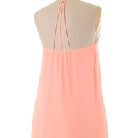 Strappy Back Light Neon Coral Dress