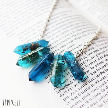 Blue Transparent Resin necklace - Resin beads - Metallic Golden Silver Flakes - Modern Necklace  Gift for her - Anniversary Gift - Unique
