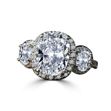 2.5 CT. Cushion Intensely Radiant Diamond Veneer Center Halo Settings w/side Ovals Ring. 635R71683