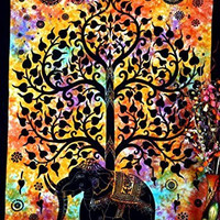 Indian Psychedelic Celestial Elephant Tree Tapestry ,Good Luck Hand Tie Dye Elephant Tapestry , Hippie Gypsy Wall Hanging , Bhoemain Bed Spread Tapestries , New Age Dorm Tapestry, Twin 54x86 By Bhagyoday