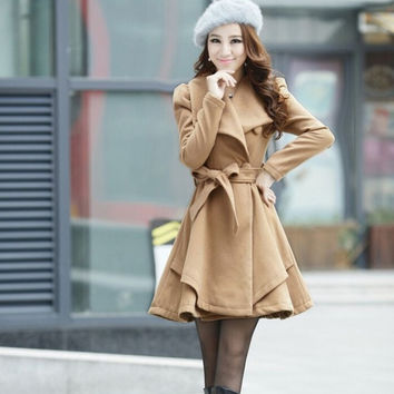 Women Fashion Woolen Trench Coat = 1956634308
