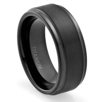 8MM Men's Titanium Ring Wedding Band Black Plated, Brushed Top and Grooved Polished Edges:Amazon:Jewelry