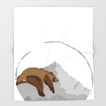 Sleeping Mountain Bear Throw Blanket by Brittany