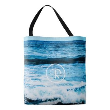 Turquoise ocean photo custom monogram tote bag