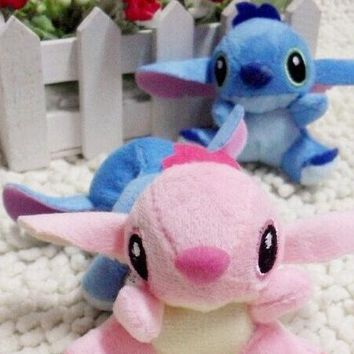 Kawaii 7CM Lilo Stitch Plush Stuffed Keychain Toy , Gift Toy Rope String Chain Pendant Toy , Bouquet Plush Decor Toys