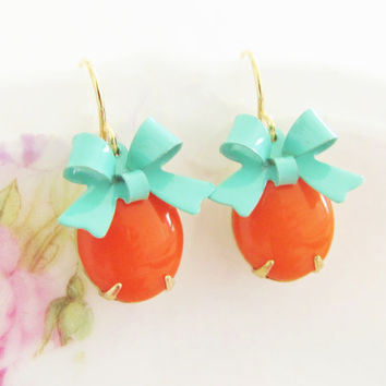 Tangerine Orange Turquoise Bow Earrings -Vintage Tangerine Orange Jewel and Turquoise Bow Dangle Earrings - Preppy, Wedding, Bridesmaid