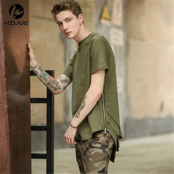 NANSHA Side Zipper Extended Man Mens Hip Hop Hiphop Swag Long Casual T Shirt Top Tees Justin Bieber Style Clothes Clothing KANYE