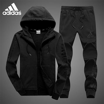 ADIDAS autumn and winter plus velvet warm casual running sportswear two-piece black