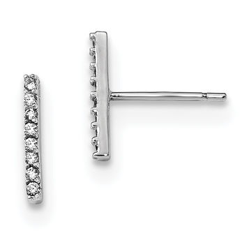 Sterling Silver Rhodium-plated CZ Bar Post Earrings QE13712
