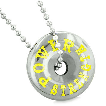 Inspirational Power and Strength Amulet Magic Coin Lucky Charm Donut Hematite Pendant 22 Inch Necklace