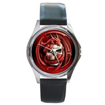 Red Goth Dragon Skull Silver Stainless Steel Watch Round