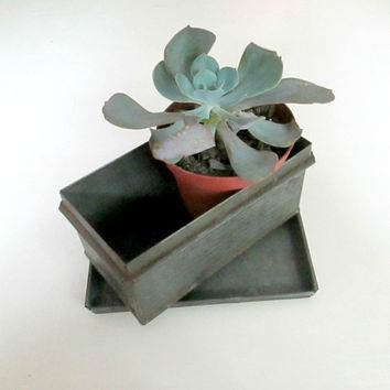 Industrial Tin Box With Lid Storage Succulent Planter Vintage Office Home Bar