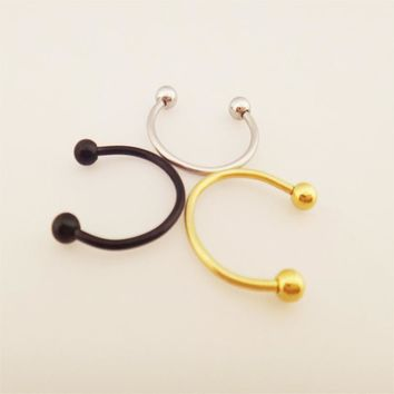 50pcs/pack Body piercing jewelry horseshoe with ball earring nose eyebrow nose lip ring stainless steel