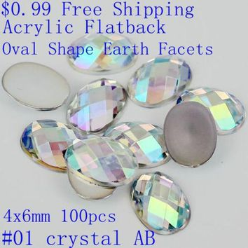 ONETOW 100pcs 4x6mm colorful acrylic falt back oval shape earth facets AB colors beads nail art decorate diy
