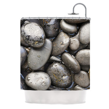 "Susan Sanders ""Skipping Stone"" Gray Rocks Shower Curtain"
