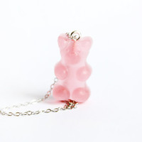 Gummy Bear Charm Necklace- Cute Kawaii Miniature Sweet Jewelry