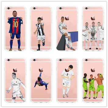 VOND4H Football Legends Messi Ronaldo Soccer Cover For iPhone 5S 6 6S Plus 7 8 X Case