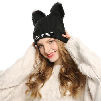 Woolen Knitted Cat Ear And Whiskers Beanie Cap