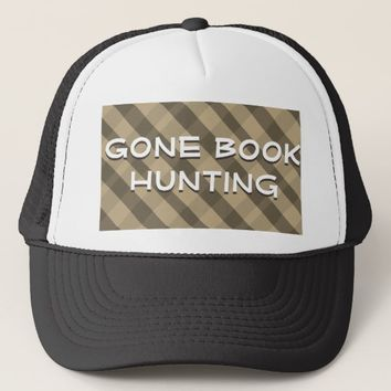Gone Book Hunting Black Cap Plaid Trucker Hat
