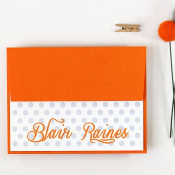 Personalized Stationary Orange and Grey Polka Dot Custom Stationery Gray Polka Dot Stationary Hostess Gift Note Cards- Set of 10