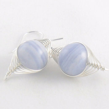 Blue Lace Agate Sterling Silver Herringbone Wire Wrapped Earring - Semi Precious Earring - Drop Earring - Simple Jewellery
