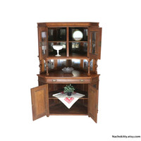 1870s Corner Cabinet, Victorian Asian Carving, Beveled Glass, Mirrored Large Antique China Storage