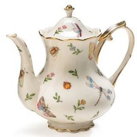 Porcelain Butterfly & Dragonfly Teapot Trimmed In Gold (1, GOLD)