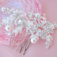 Floral Pearls And Rhinestone Bridal Hair Comb Headpiece
