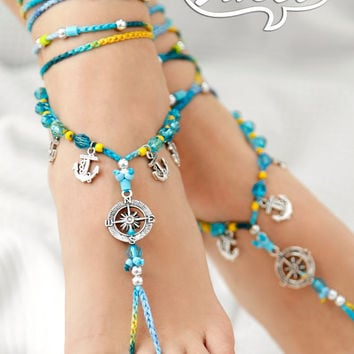 Nautical Barefoot Sandal. Gypsy Shoes. Barefoot sandals